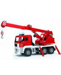 (BRU02770) Bruder, MAN Fire Engine Crane Truck With Light And Sound Module Trucks Incl. Battery