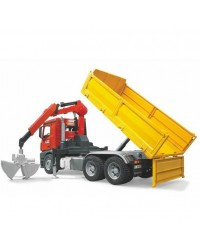 (BRU03651) Bruder, MB Arocs Construction Truck With Crane, Clamshell Buckets, Crane Pallet Forks And 2 Pallets