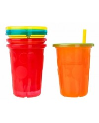 (Y1157) The First Years, Take & Toss Straw Cups 10oz 296ml 18M+ 4pcs - Multi Color
