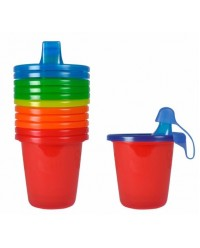 (Y1300) The First Years, Take & Toss Sippy Cups 7oz 207ml 6M+ 6pcs - Multi Color