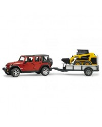 (BRU02925) Bruder, JEEP Wrangler Unlimited Rubicon With One Axle Trailer And Cat Skid Steer Loader