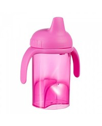 (DF702-Pink) Difrax, Non Spill Slippy Cup Hard Spout 250ml