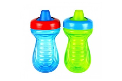 (Y6057-GreenBlue) The First Years, Simply Soft Soft Spout Cups 9oz 266ml 6M+ 2pcs