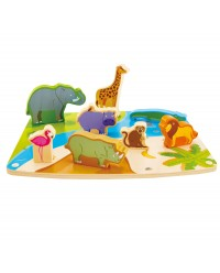 (HP1455) Hape, Wild Animal Puzzle & Play