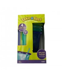 (Y1157F1-6472) The First Years, Take & Toss Straw Cups 10oz 296ml 18M+ 4pcs - Blue