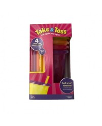 (Y1157F1-6473) The First Years, Take & Toss Straw Cups 10oz 296ml 18M+ 4pcs - Pink