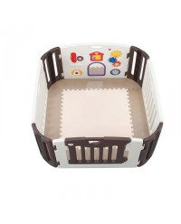 Nihon Ikuji, Premium Musical Play Yard - Brown (4 Panel + EVA Mat)