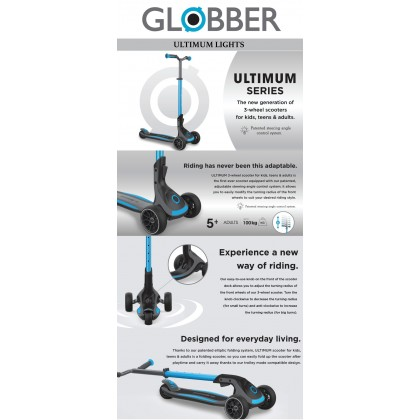 (GL613-101) Globber, Ultimum Lights 3-Wheel Scooter For Kids,Tees & Adults Up To 100 Kg