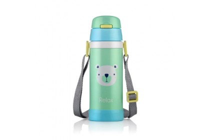 (D2636-03) RELAX, 18.8 Stainless Steel Thermal Flask 0.36L - Green (Bear)