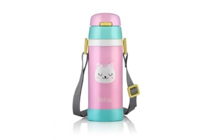(D2636-15) RELAX, 18.8 Stainless Steel Thermal Flask 0.36L - Pink (Cat)