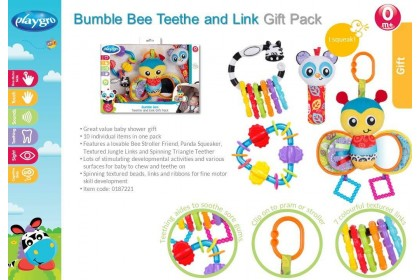 (PG0187221) Playgro, Bumble Bee Teether & Link