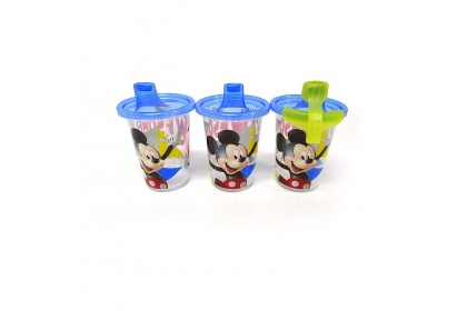 (Y9652) The First Years, Mickey Mouse& Donald Duck Green Take&Toss 10oz Sippy Cups 3pk W/travel Cap 296ml