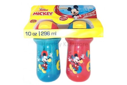 (Y10656) The First Years, Mickey Mouse 10oz Flip Top Straw Cup 2pk