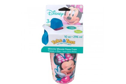 (Y9601-Pink) The First Years, Minnie Mouse Dotty Vibes- Take & Toss 10oz Sippy Cup 3pk With Travel Cap 296ml