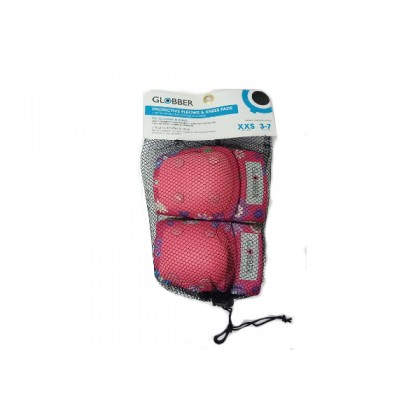 (GL529-003) Globber, Toddler Protective Elbows & Knees Pads - Flowers Pink