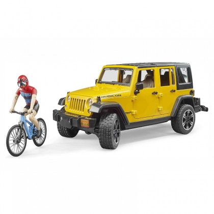 (BRU02543) Bruder, Jeep Wrangler Rubicon with Mountain Bike and Cyclist