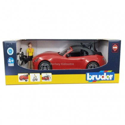 (BRU03485) Bruder, Roadster with Racing Bicycle and Cyclist