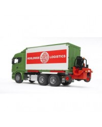 (BRU03580) Bruder, SCANIA R-Series Truck With Interchangeable Container And Forklift