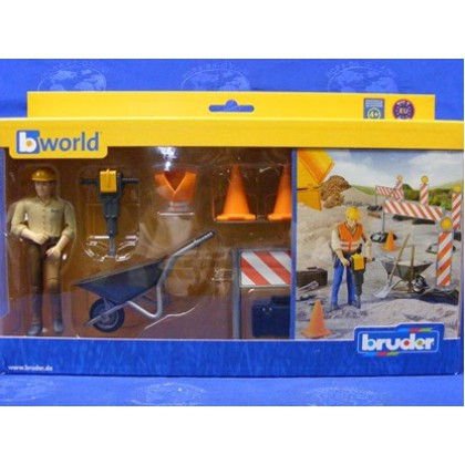 Colors May Vary Free Shipping Bruder Bworld Construction Set with Man New