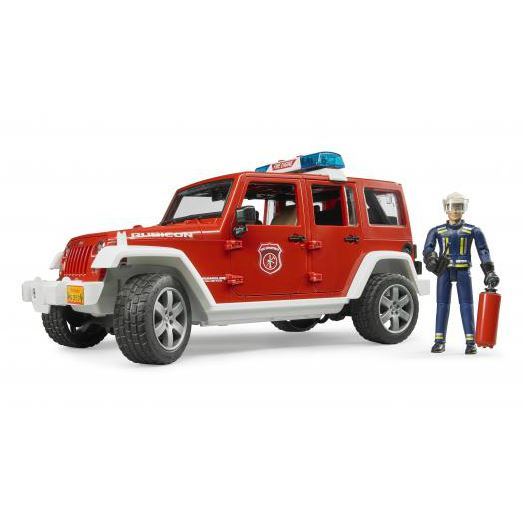 (BRU02528) Bruder, Jeep Wrangler Unlimited Rubicon Fire Department Vehicle With Fireman