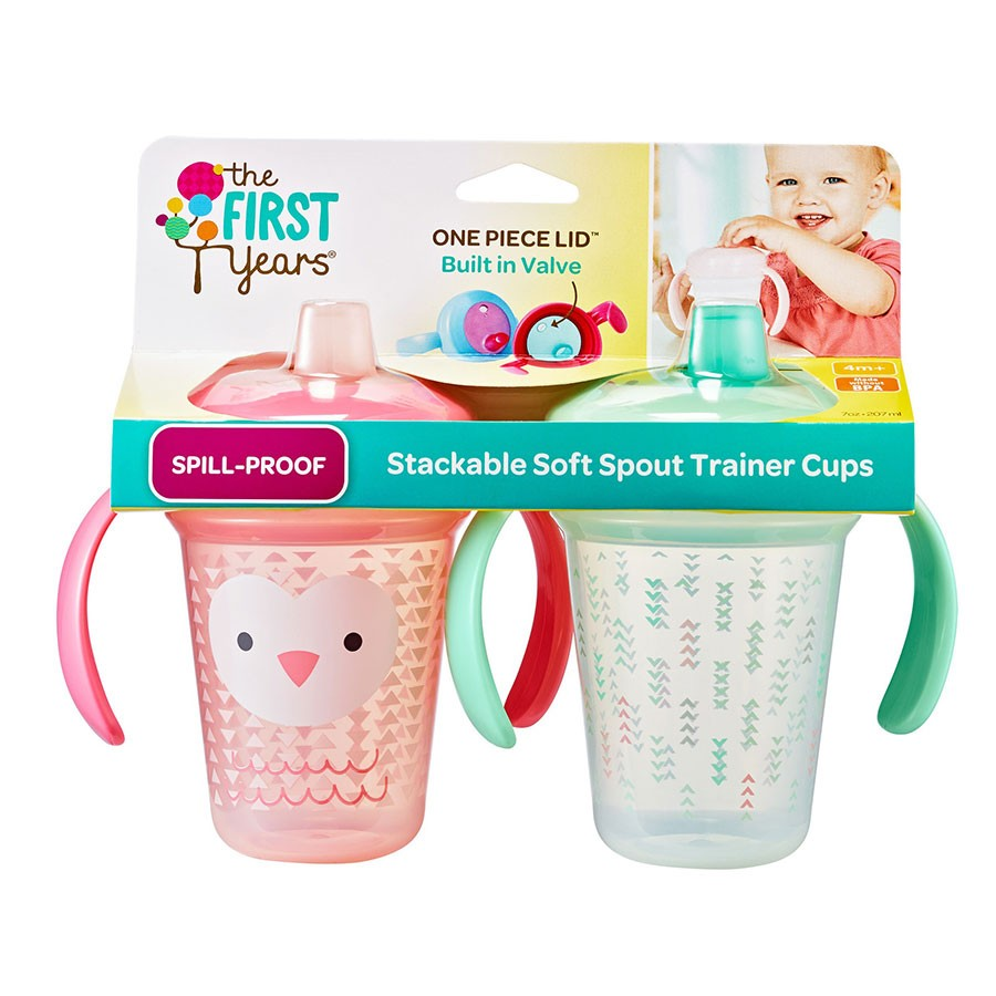 (Y6421/Y6434-Pink) The First Years, Stackable Soft Spout Trainer Cup 7oz 207ml 4M+ - 2pcs