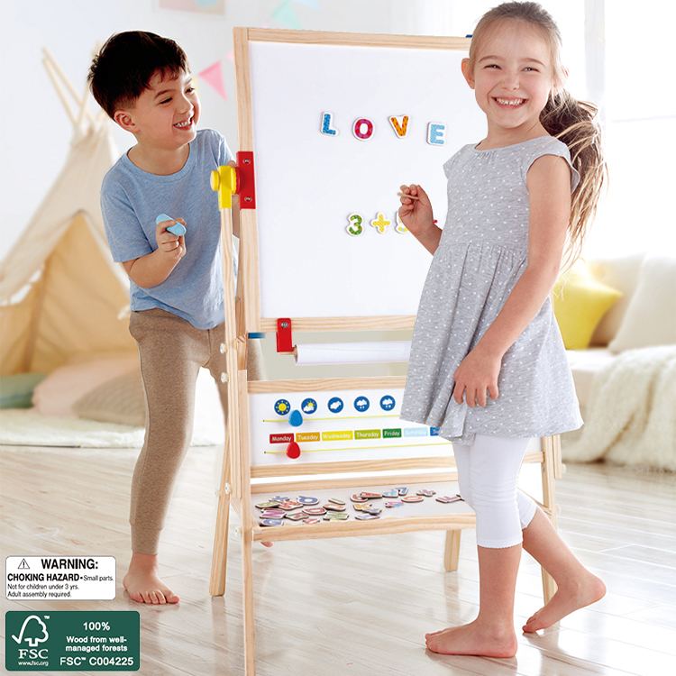 (HP841433) Hape, All- in-1 Double Sided Standing Kids Chalkboard Wooden Easel Painting